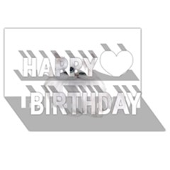 White Persian Cat Clipart Happy Birthday 3d Greeting Card (8x4)