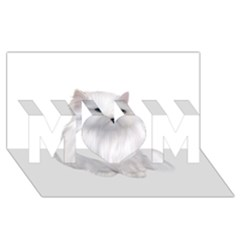 White Persian Cat Clipart MOM 3D Greeting Card (8x4)