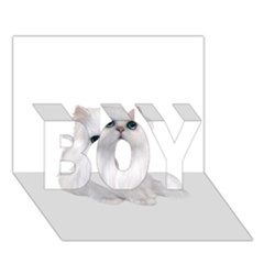 White Persian Cat Clipart BOY 3D Greeting Card (7x5)
