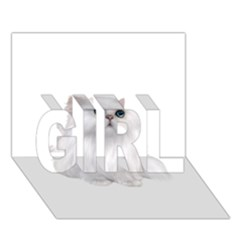 White Persian Cat Clipart Girl 3d Greeting Card (7x5)