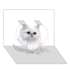 White Persian Cat Clipart Heart 3d Greeting Card (7x5)