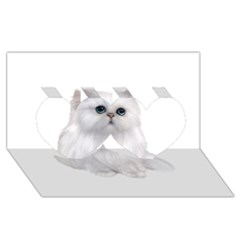 White Persian Cat Clipart Twin Hearts 3D Greeting Card (8x4)