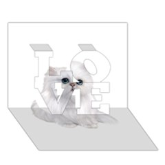 White Persian Cat Clipart Love 3d Greeting Card (7x5)