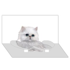 White Persian Cat Clipart Twin Heart Bottom 3d Greeting Card (8x4)