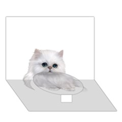 White Persian Cat Clipart Circle Bottom 3D Greeting Card (7x5)