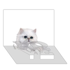 White Persian Cat Clipart LOVE Bottom 3D Greeting Card (7x5)