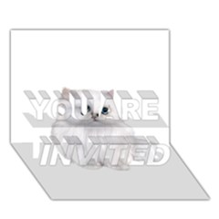 White Persian Cat Clipart YOU ARE INVITED 3D Greeting Card (7x5)