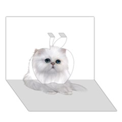 White Persian Cat Clipart Apple 3d Greeting Card (7x5)