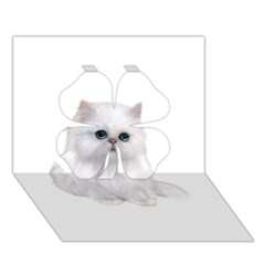 White Persian Cat Clipart Clover 3D Greeting Card (7x5)