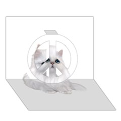 White Persian Cat Clipart Peace Sign 3d Greeting Card (7x5)