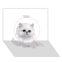 White Persian Cat Clipart Circle 3D Greeting Card (7x5)