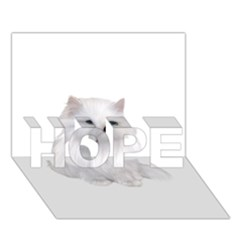 White Persian Cat Clipart HOPE 3D Greeting Card (7x5)