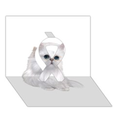 White Persian Cat Clipart Ribbon 3d Greeting Card (7x5)