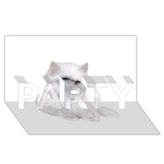 White Persian Cat Clipart Party 3d Greeting Card (8x4)