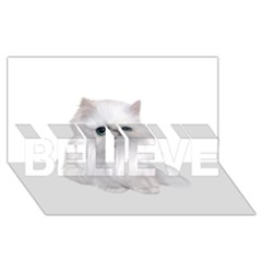 White Persian Cat Clipart BELIEVE 3D Greeting Card (8x4)