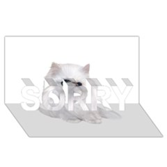White Persian Cat Clipart Sorry 3d Greeting Card (8x4)