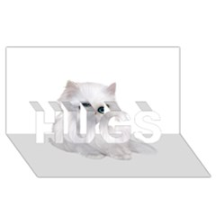 White Persian Cat Clipart HUGS 3D Greeting Card (8x4)
