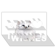 White Persian Cat Clipart Best Wish 3d Greeting Card (8x4)