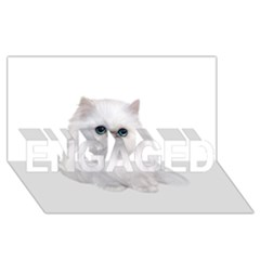 White Persian Cat Clipart ENGAGED 3D Greeting Card (8x4)