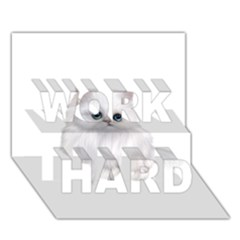 White Persian Cat Clipart WORK HARD 3D Greeting Card (7x5)