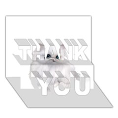 White Persian Cat Clipart THANK YOU 3D Greeting Card (7x5)