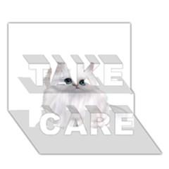 White Persian Cat Clipart TAKE CARE 3D Greeting Card (7x5)
