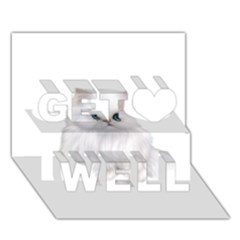 White Persian Cat Clipart Get Well 3D Greeting Card (7x5)