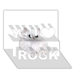 White Persian Cat Clipart You Rock 3d Greeting Card (7x5)