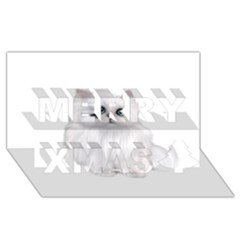 White Persian Cat Clipart Merry Xmas 3d Greeting Card (8x4)