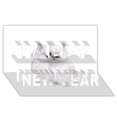 White Persian Cat Clipart Happy New Year 3D Greeting Card (8x4)