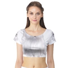 White Persian Cat Clipart Short Sleeve Crop Top