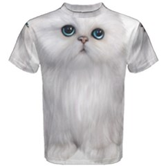 White Persian Cat Clipart Men s Cotton Tees
