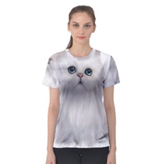 White Persian Cat Clipart Women s Sport Mesh Tees