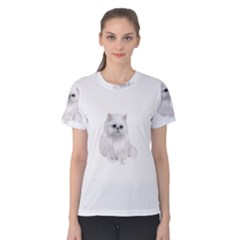 White Persian Cat Clipart Women s Cotton Tees