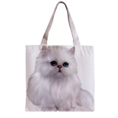 White Persian Cat Clipart Grocery Tote Bags