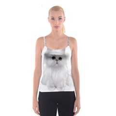 White Persian Cat Clipart Spaghetti Strap Tops
