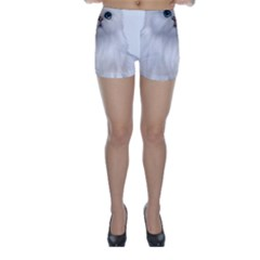 White Persian Cat Clipart Skinny Shorts