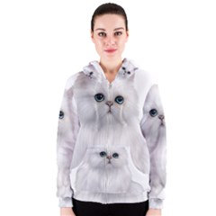 White Persian Cat Clipart Women s Zipper Hoodies