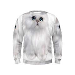 White Persian Cat Clipart Boys  Sweatshirts