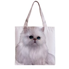 White Persian Cat Clipart Zipper Grocery Tote Bags