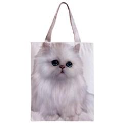 White Persian Cat Clipart Zipper Classic Tote Bags