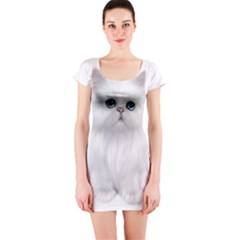 White Persian Cat Clipart Short Sleeve Bodycon Dresses