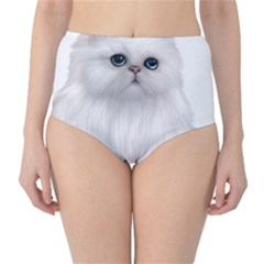 White Persian Cat Clipart High-Waist Bikini Bottoms