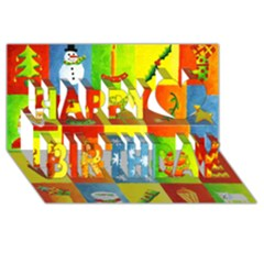 Christmas Things Happy Birthday 3d Greeting Card (8x4)
