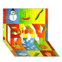 Christmas Things Boy 3d Greeting Card (7x5)
