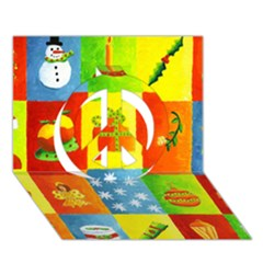 Christmas Things Peace Sign 3D Greeting Card (7x5)