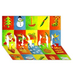 Christmas Things Best Sis 3d Greeting Card (8x4)