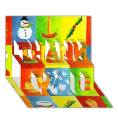 Christmas Things Thank You 3d Greeting Card (7x5)