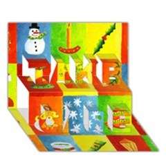 Christmas Things TAKE CARE 3D Greeting Card (7x5)