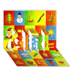 25 Xmas Things Girl 3d Greeting Card (7x5)